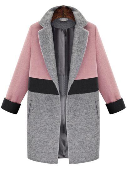 Wollmantel Revers mit Taschen - rosa und grau