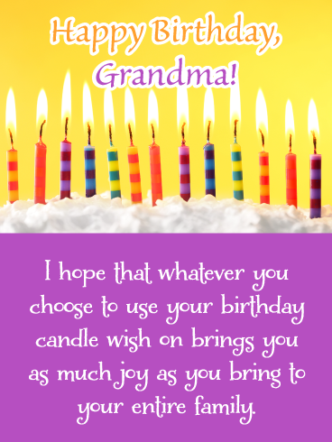 Birthday Candle Wishes Happy Birthday Card For Grandma Birthday Greeting Cards By Davia Happy Birthday Candles Birthday Candles Birthday Greeting Cards