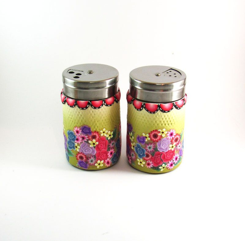 Salt and pepper shakers Holiday gift  glass decorated with Polymer clay flowers. $30.00, via Etsy.