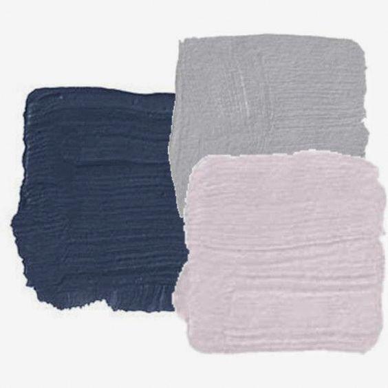 Wandfarbe Dunkelblau: Farb Inspiration Dunkelblau, Pastellrosa Und Frozen Grey