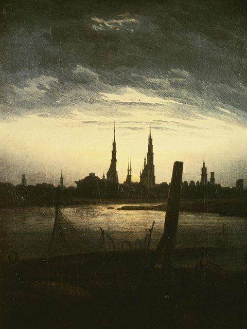 Kunstdruck Poster »C.D. Friedrich: Stadt bei Mondaufgang, 1825/30«