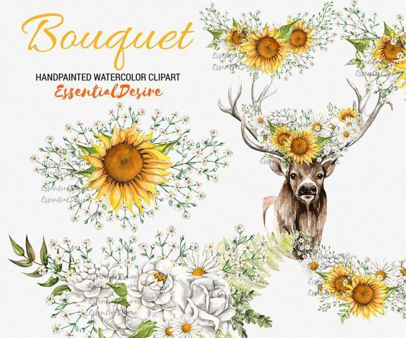 sunflowers bouquet clipart floral