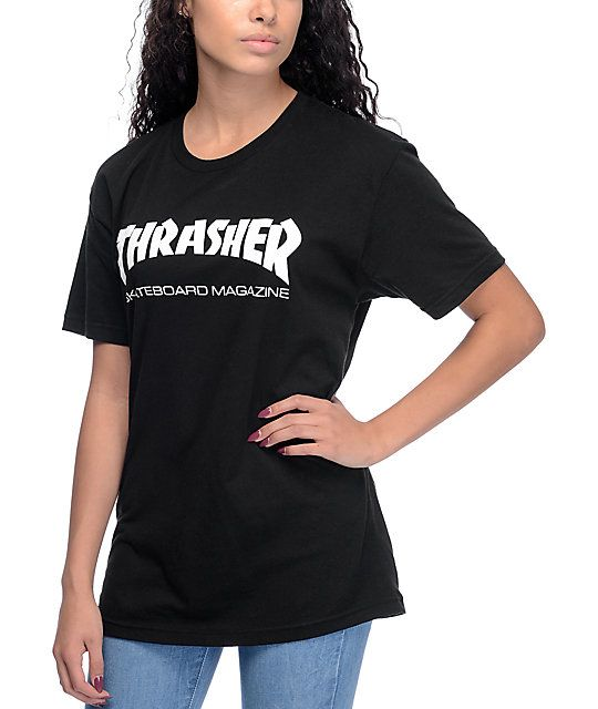 7b5af8ee7af4 Show off your skater loyalties with this Skate Mag black t-shirt from  Thrasher. An all black t-shirt features a white Thrasher magazine logo  front and ...