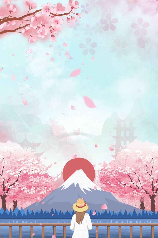 Creative Japan Fuji Mountain Tourism Cartoon Synthetic Background Japan Painting Japanese Art Traditional Japanese Art