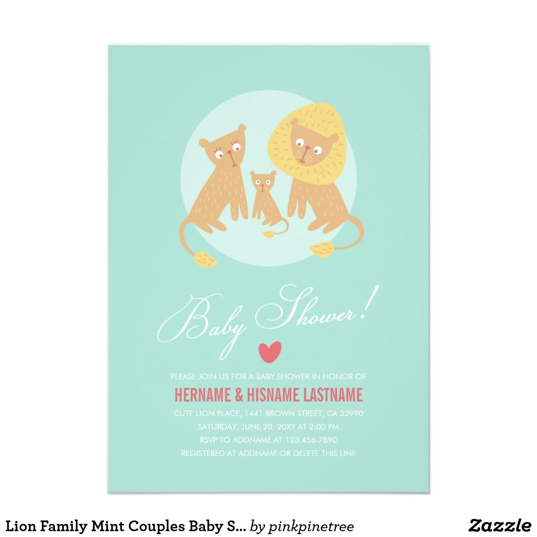 Lion Family Mint Couples Baby Shower Invite Round | Lion family and ...