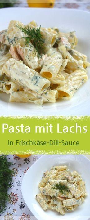 Nudeln mit Lachs und Erbsen in Frischkäse-Dill-Sauce #recipesforshrimp