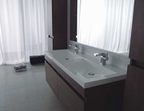 Doppel-Waschtisch 144 Badezimmermöbel Waschplatz Badmöbel Weiß