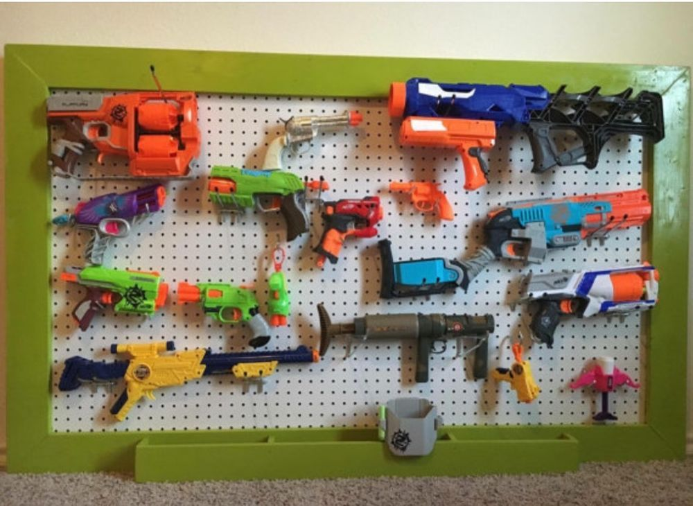 Nerf gun storage pegboard can build to your specifications! Please contact  us with your location for a shipping quote!