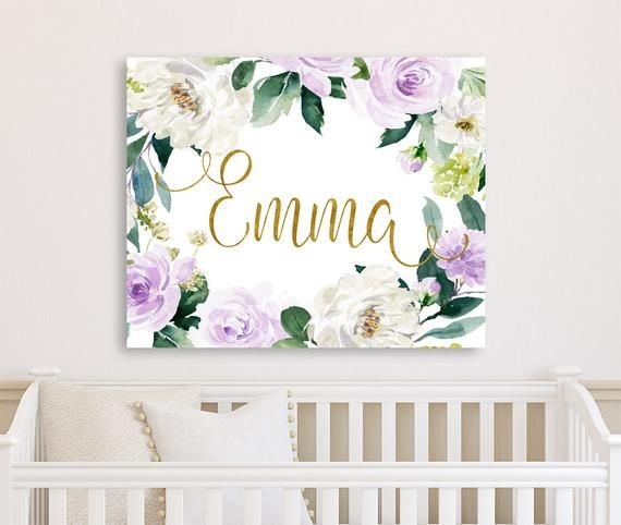 Lavender Fl Nursery Baby Name Sign Wall Art Canvas