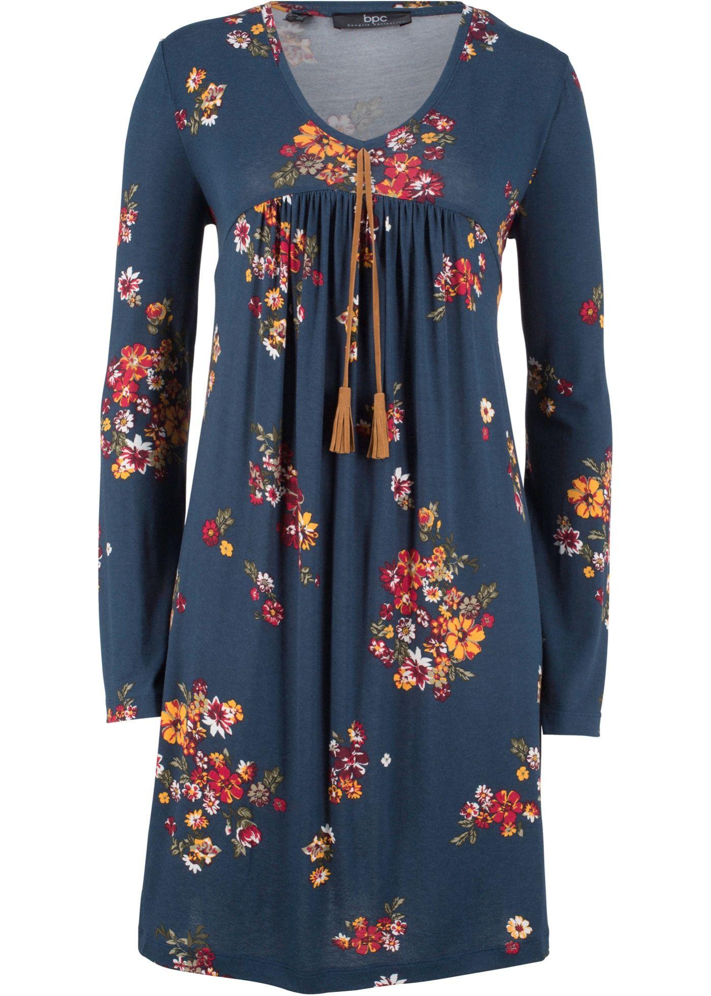 bedrucktes Shirt-Kleid, Langarm | Jersey-kleider, Tuch ...