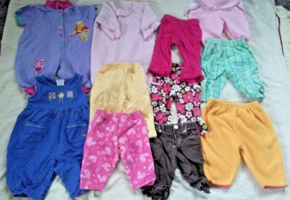bc2d70ce9f9a Lot of 11 Baby Girl Clothes Size 3-6 Months Outfits Sleeper Pants ...