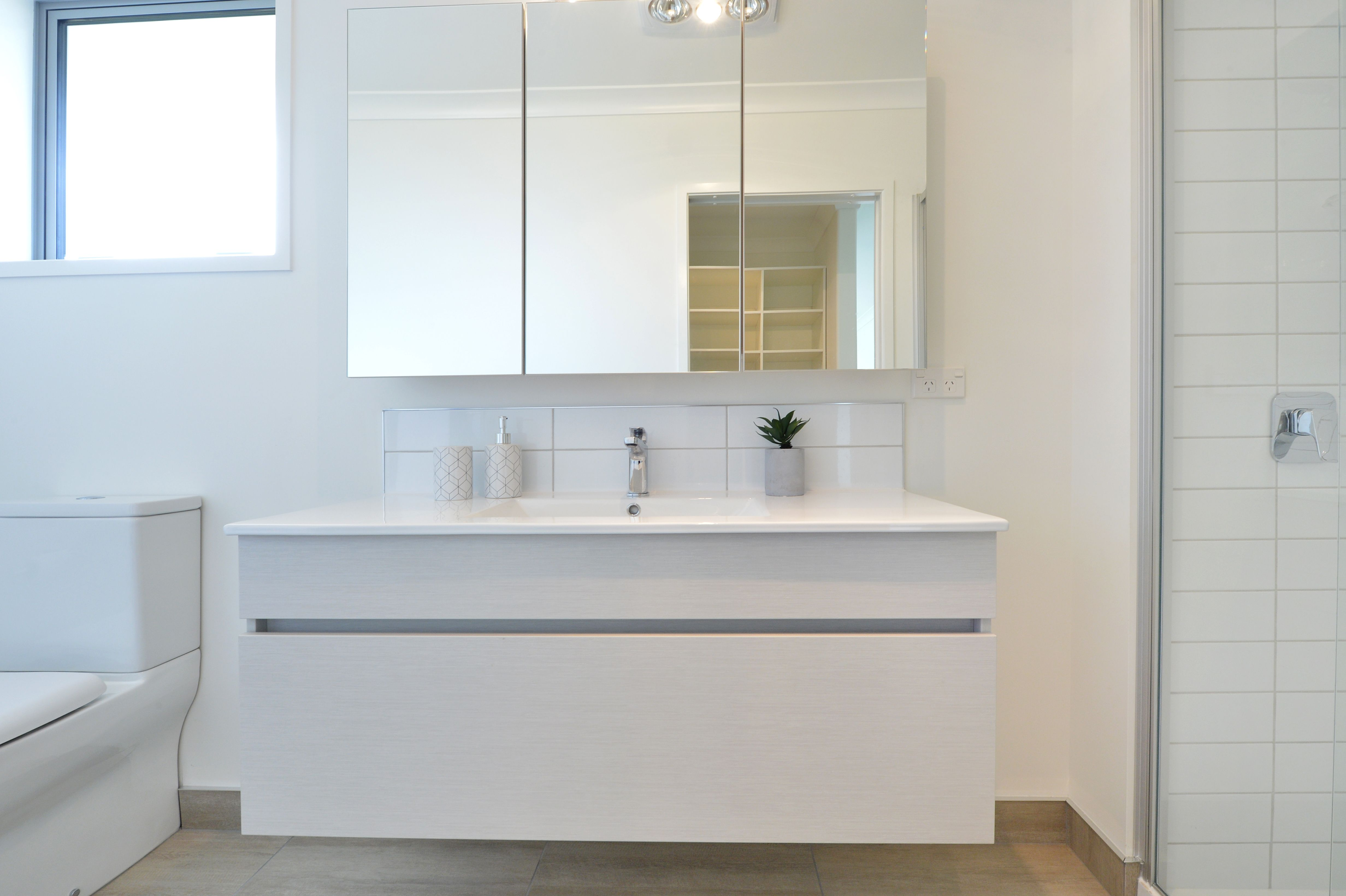 Sumner Wall Hung Vanity And Beveled Edge From Clearlite