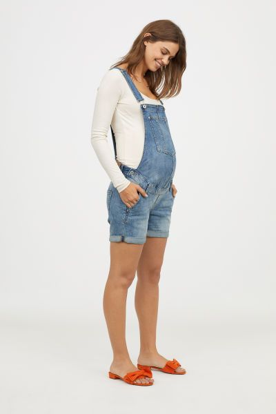 store website for discount hot-selling cheap MAMA Denim Bib Overall Shorts | Denim blue | Women | H&M US ...