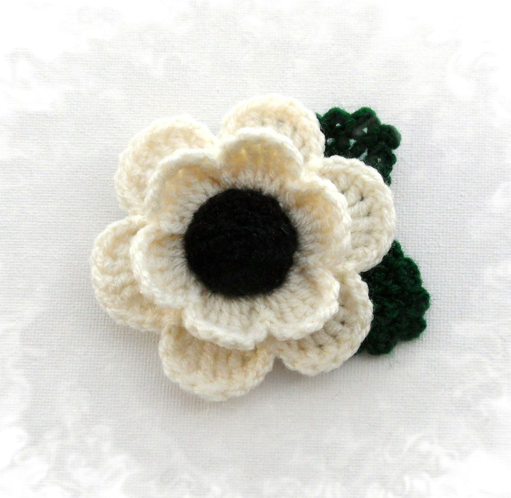 Hand crochet brooch applique ivory acrylic flower poppy flower ...