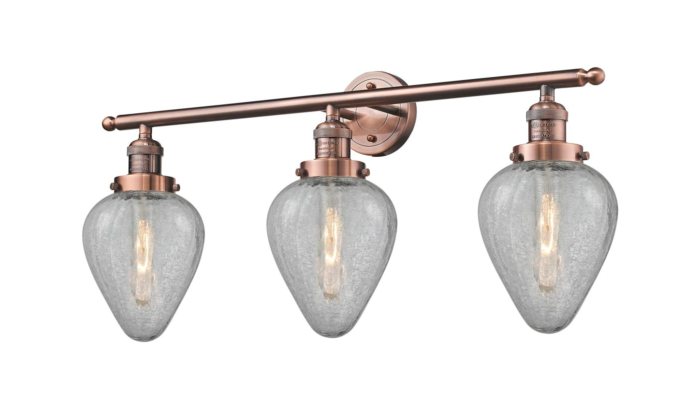 Photo of Innovations Lighting 205-AC-G165 Antique Copper / Clear Crackle Geneseo 3 Light 30″ Wide Bathroom Vanity Light