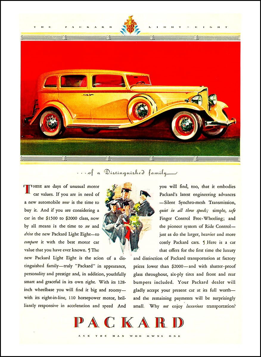 Old Car Values >> 1932 Packard Light Eight Ad These Are Days Of Unusual Motor