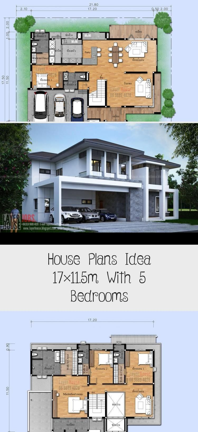 House Plans Idea 17 11 5m With 5 Bedrooms Ruby S Blog Di 2020
