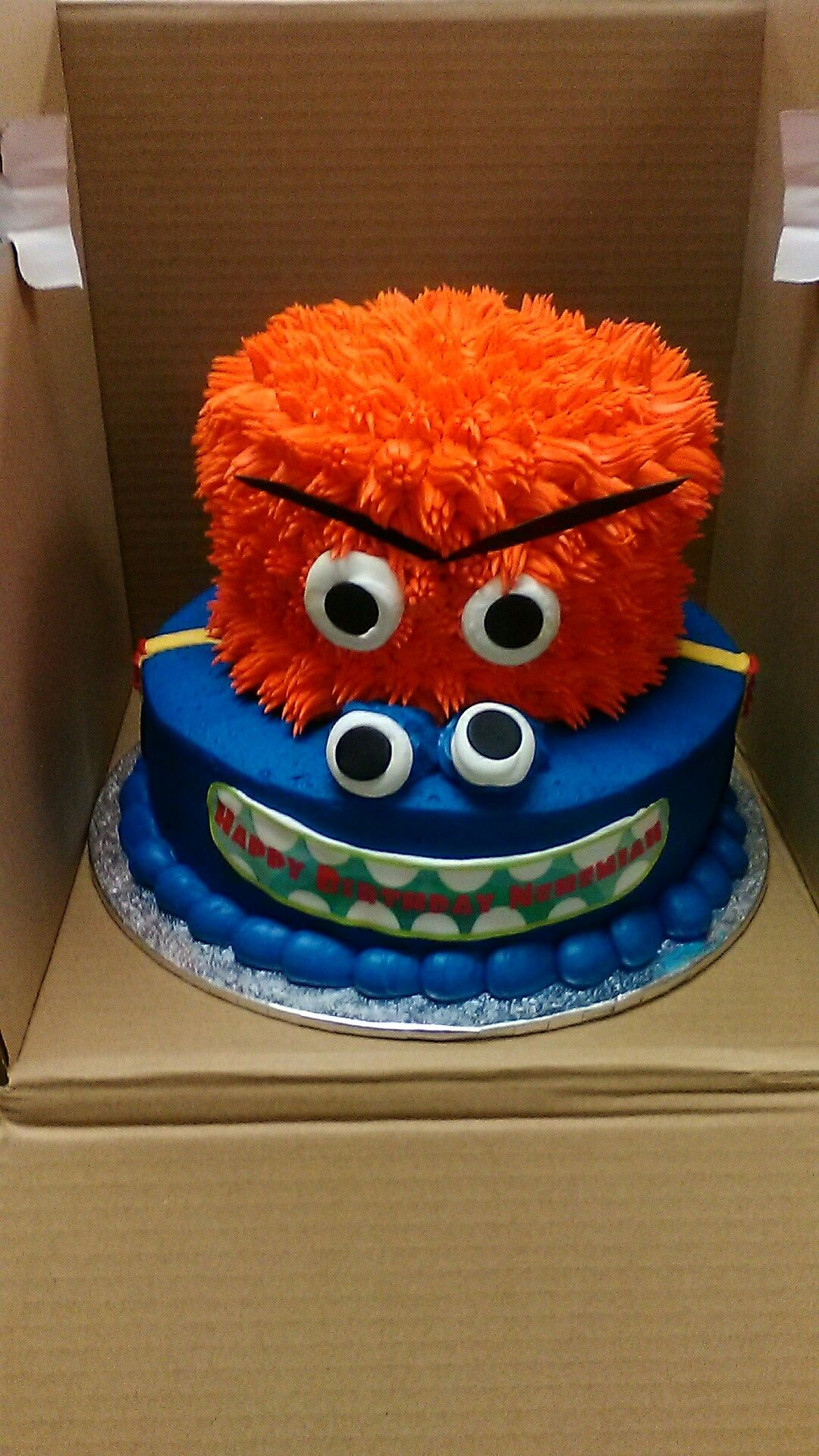 2 Tier Monster Theme Buttercream Birthday Cake Walmart