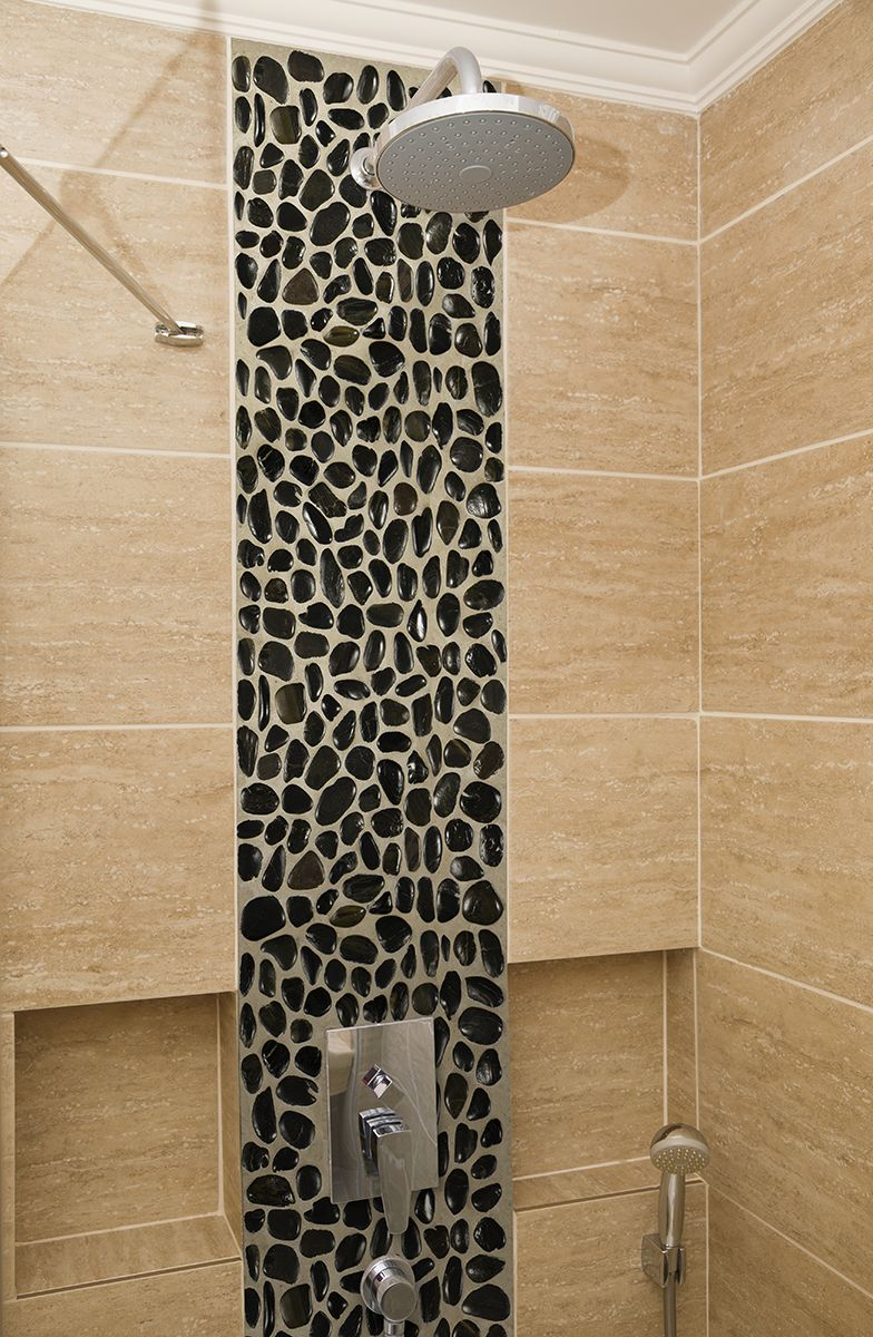 Polished Black Pebbles Meshed 12x12 Mosaic Tile Backsplash Pebble Mesh Mosaic Wall Tiles