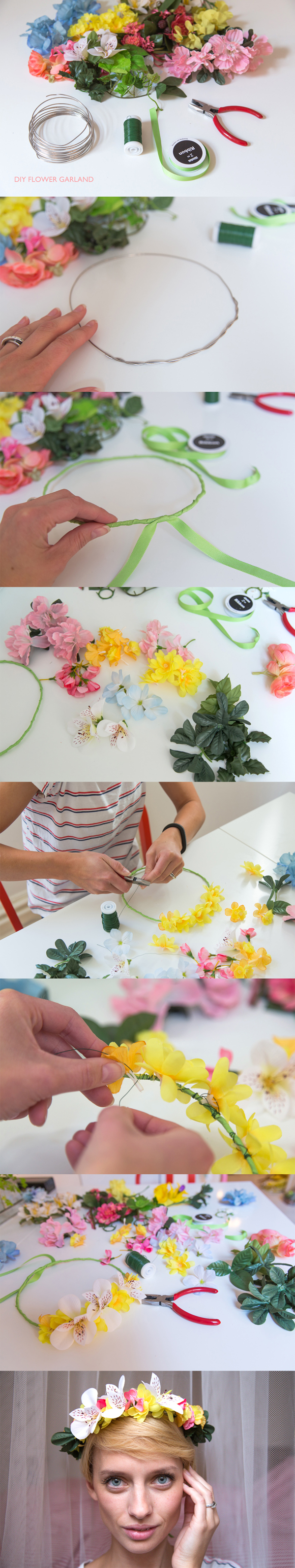 DIY Flower Garland- could even make bigger to hang vines from around a light fixture/chandelier
