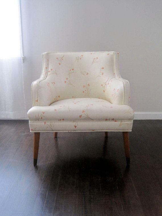 Vintage Mid Century Lounge Chair Vinyl Cherry Blossom Upholstery