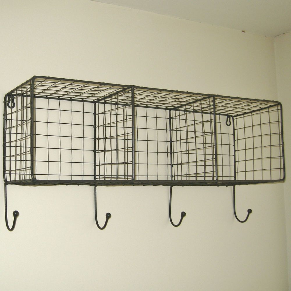 Metal Wire Locker Room Wall Shelf Hooks Storage Basket Vintage Industrial Style Small Bathroom Storage Vintage Industrial Furniture Industrial Style