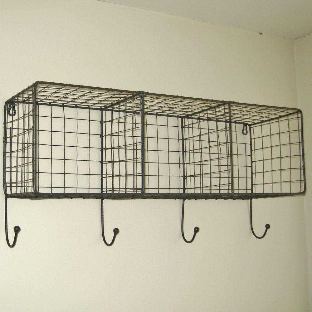 Metal Wire Locker Room Wall Shelf Hooks Storage Basket Vintage Industrial Style Small Bathroom Storage Vintage Industrial Furniture Industrial Style