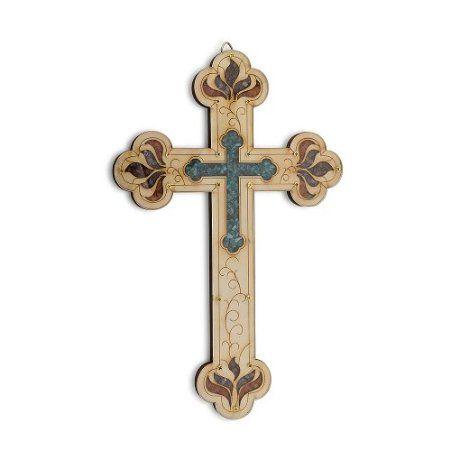Amazon Com Wall Wood Cross Vintage Jerusalem Gemstones Antique