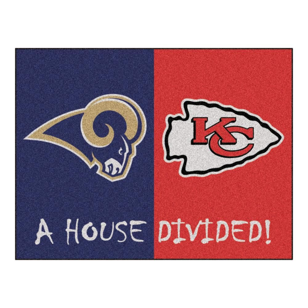Los Angeles Rams Vs Kansas City Chiefs Rivalry Rug Kansas City Chiefs House Divided Nfl Kansas City Chiefs