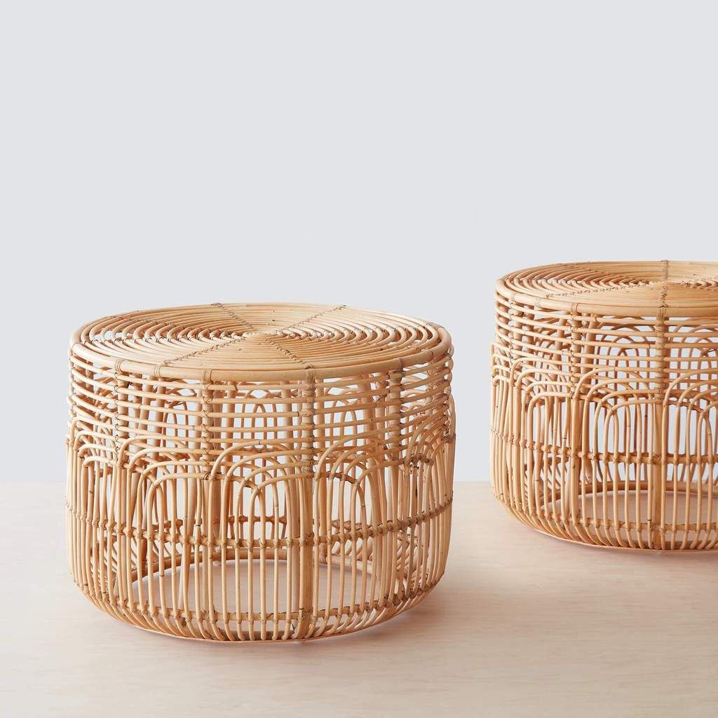 Modern Rattan Side Table Handwoven In Indonesia The Citizenry