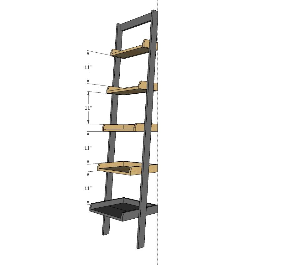 Ana white build a leaning ladder wall bookshelf free for Diy ladder bookcase
