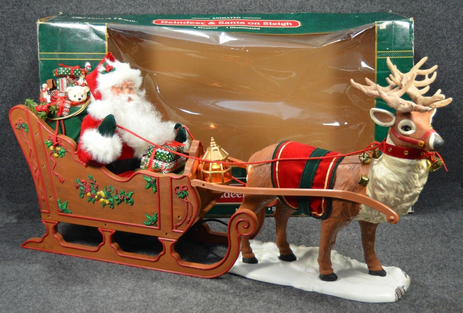 Vintage Trim A Home Reindeer Santa On Sleigh Huge Christmas Motionette 1998 Ebay Santa Sleigh Sleigh Reindeer