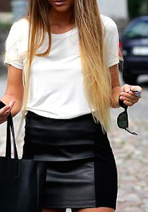1e31224693 White top+ black skirt= casual but still chic. white + leather