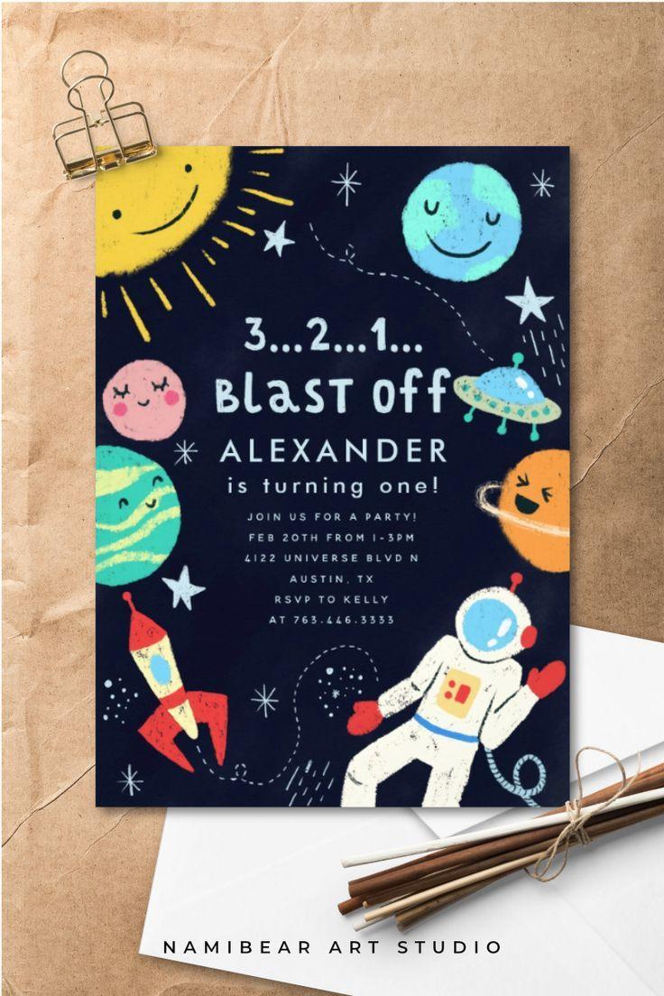 Outer Space Blast Off Birthday Party Invitation | Zazzle.com