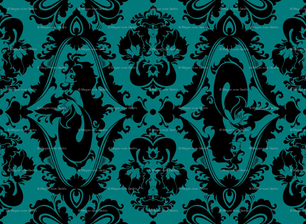 Mermaid Damask Teal And Black Wallpaper Rosalarian Spoonflower Teal And Black Wallpaper Teal Upholstery Fabric Black Wallpaper