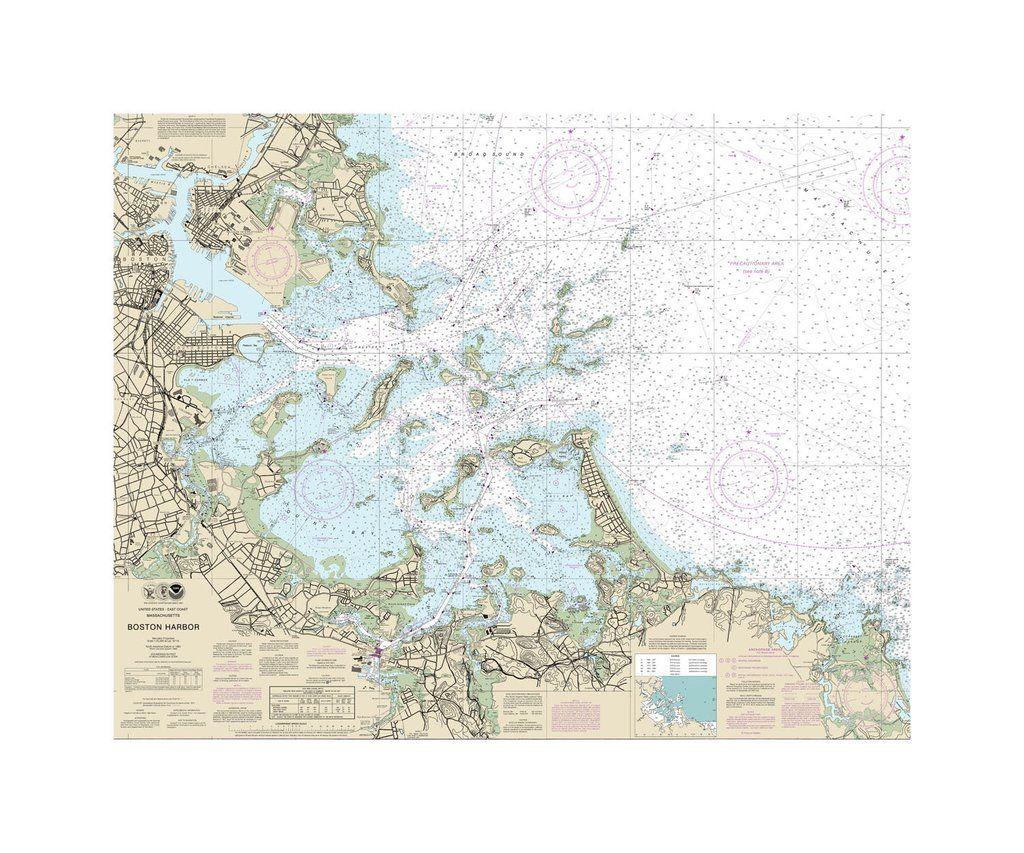 Boston Harbor Nautical Chart Vinyl Print