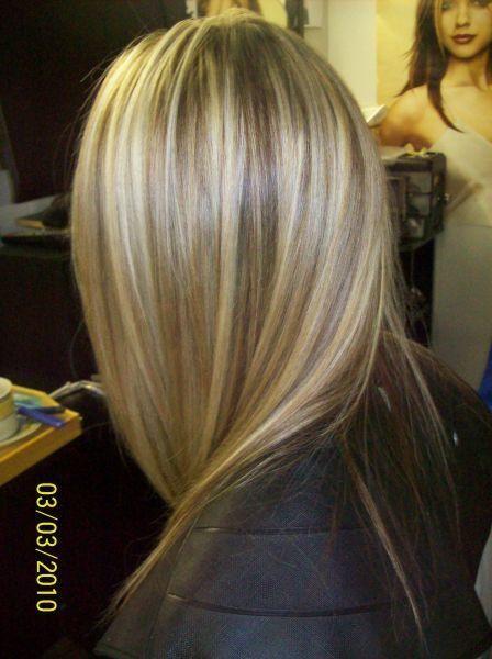 Extraordinaire Cheveux long, mèches blondes, et couleur blond foncé   styles #LG_53