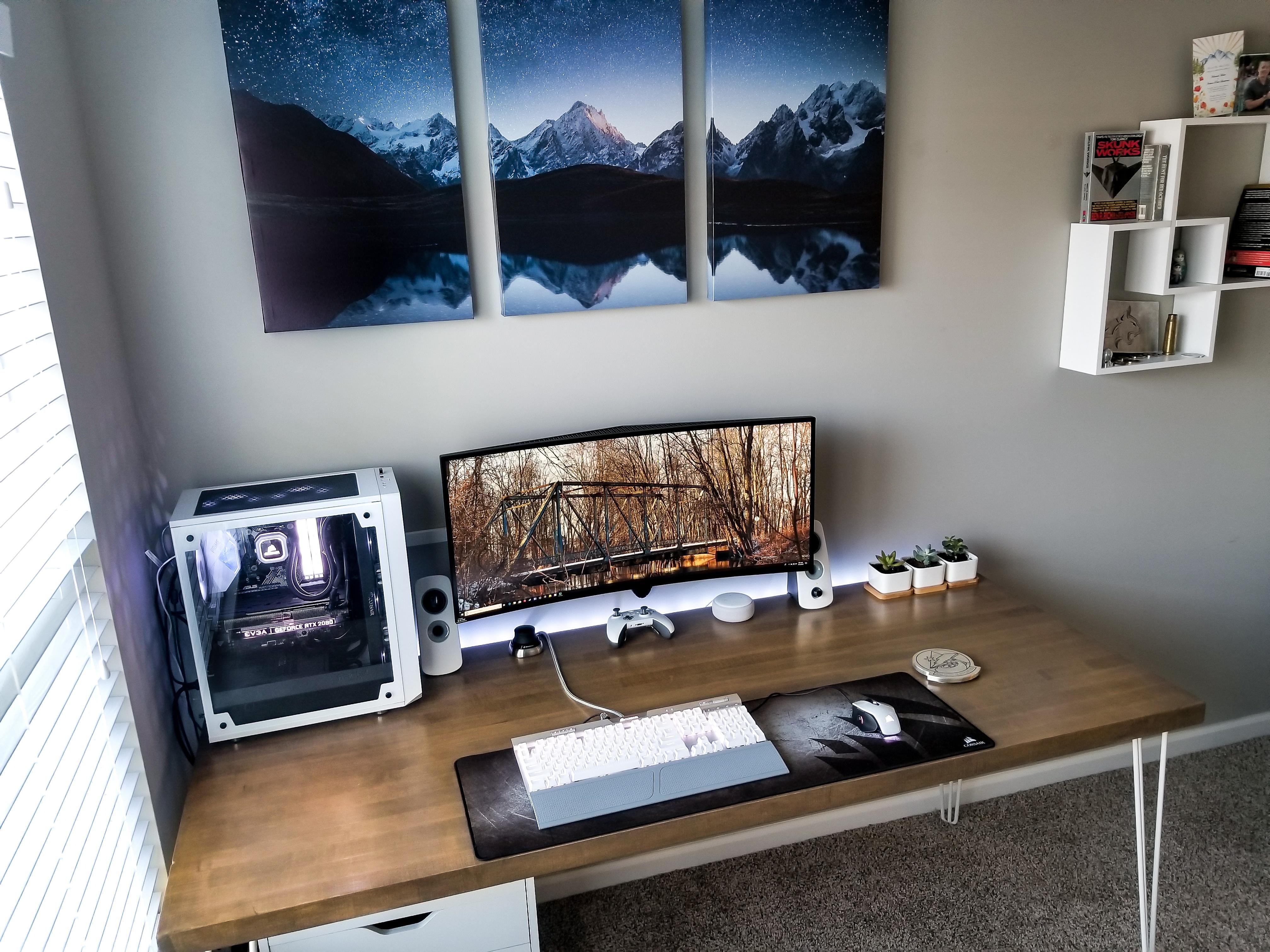 Home Office Battlestation Using White Wood Theme Home Office Design Home Battlestation