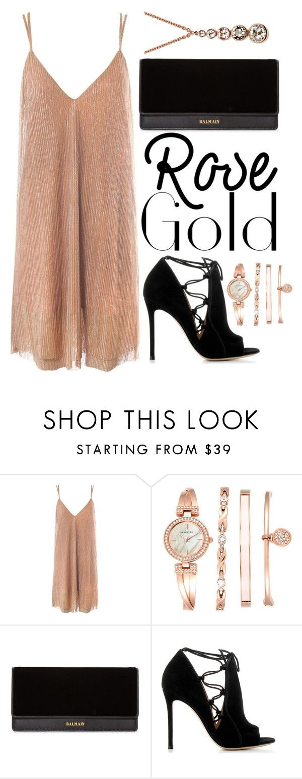 """Rose gold"" by mareehamasood246 ❤ liked on Polyvore featuring Sans Souci, Anne Klein, Balmain, Gianvito Rossi and Karen Millen"