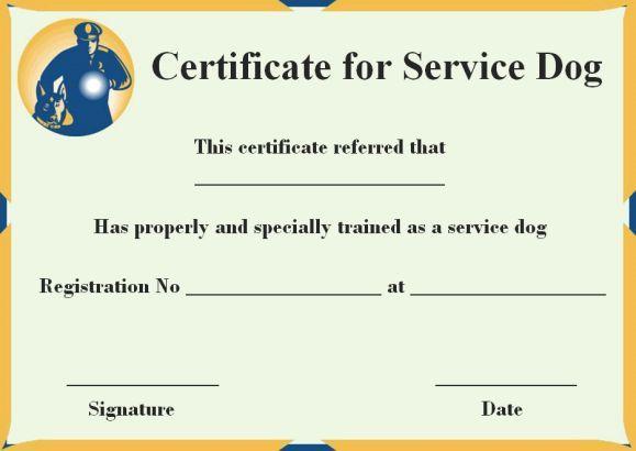 Service Dog Certificate Templates Free | Service Dog Certificate ...