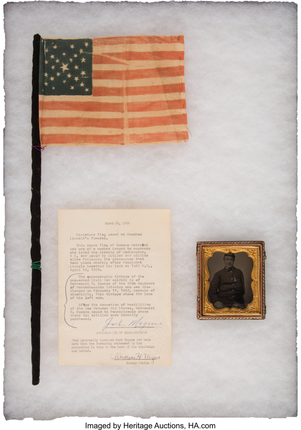 Flag From Abraham Lincoln S Washington D C Funereal Owned By Corporal Nathaniel E Powers Company A 10th Massachusett Abraham Lincoln Funeral Cotton Flag