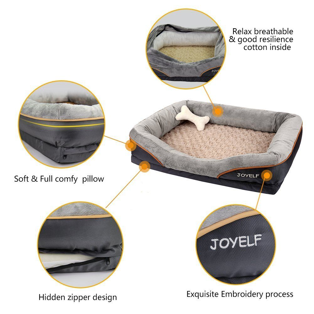 Joyelf Orthopedic Dog Bed Memory Foam Pet Bed With Removable Washable Cover And Squeaker Toys As Gift Click Im Orthopedic Dog Bed Cool Dog Beds Dog Sofa Bed