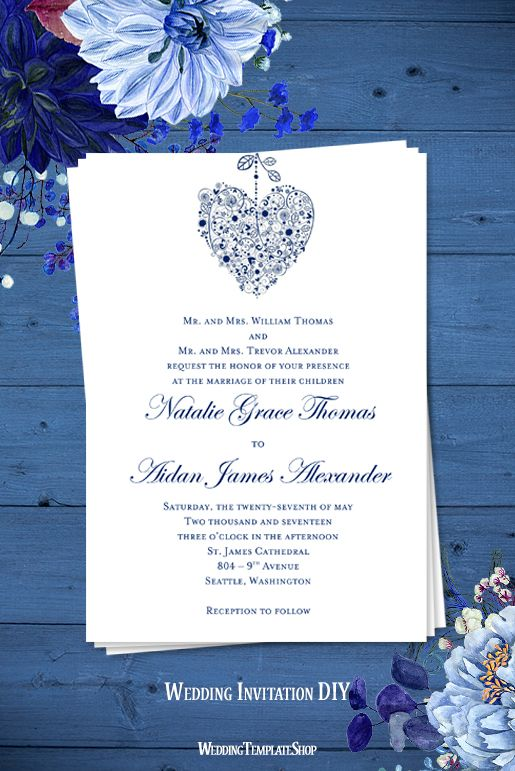 Hearts Wedding Invitation Royal Blue