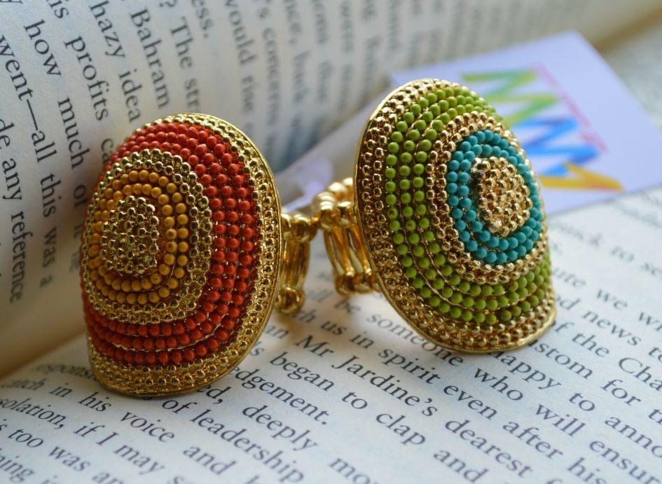 Gold Green/Blue & Orange/Yellow beads