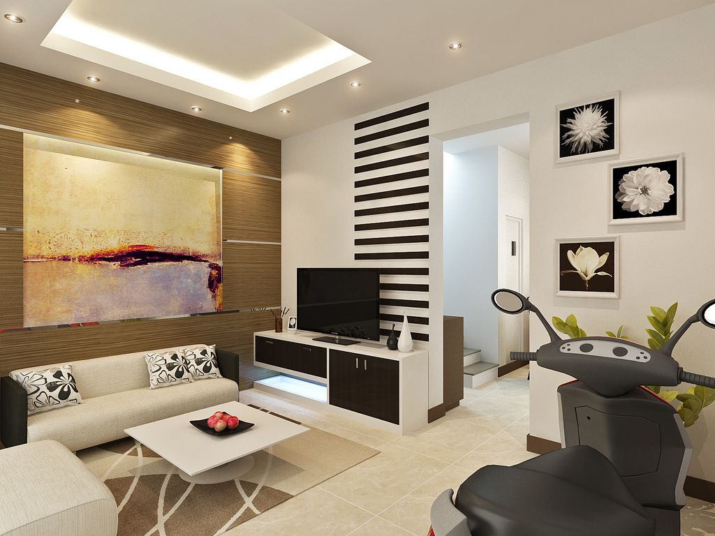 Comfortable Furniture For Small Tv Room Part - 39: Contemporary White Theme Living Room With Comfortable Leather Sofa Complete  With The Pillows And Stunning White Square Table Also Corner Space TV  Stands ...