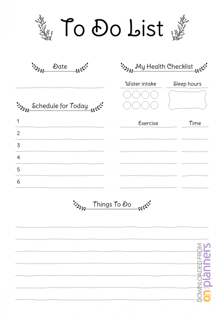 Download Printable Daily To Do List Pdf regarding Blank