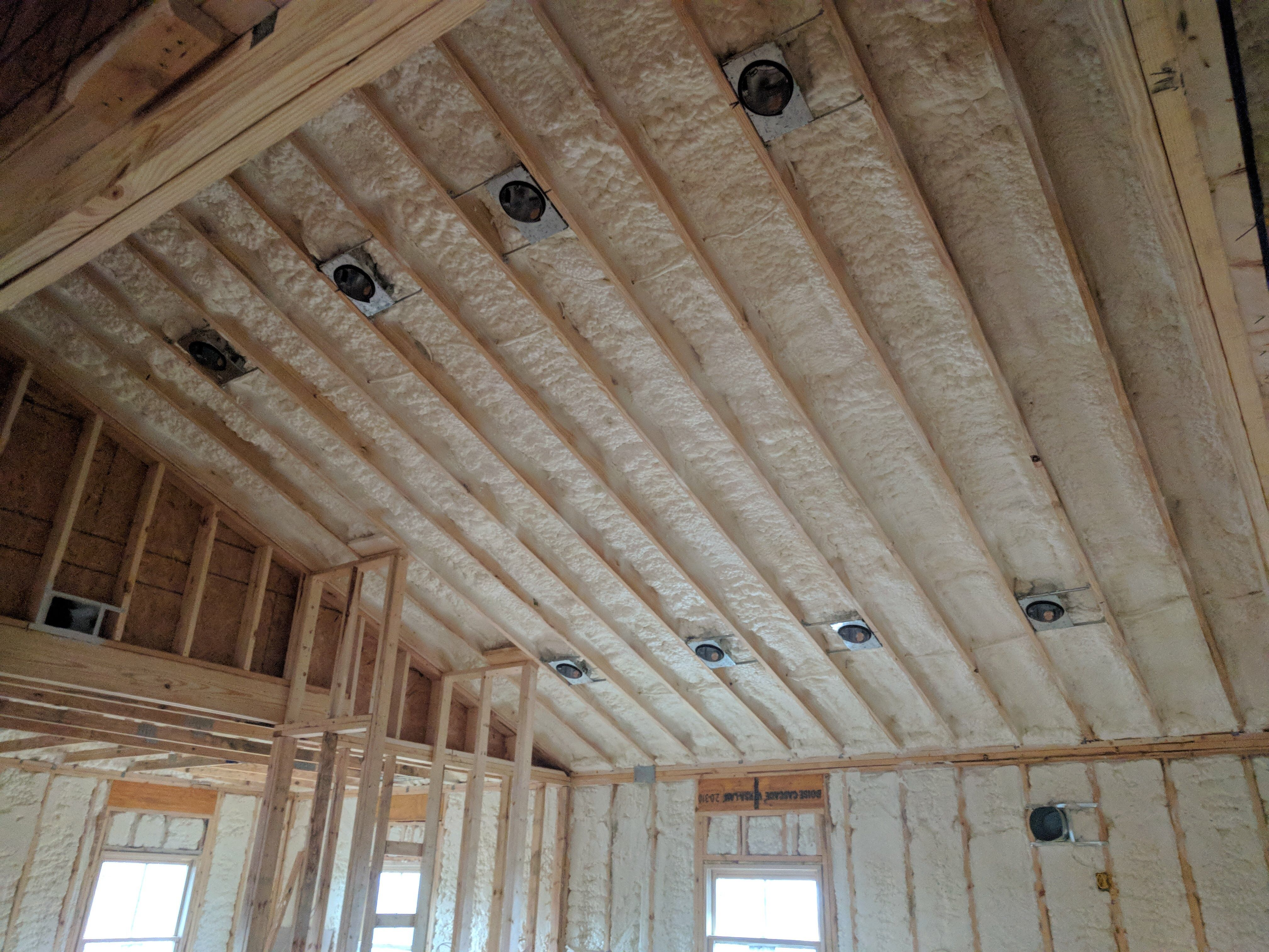 Finished This House In Canton Ga Open Cell Roof And Walls And Some R19 Batts In The Basement Ceiling Click To Make An A Spray Foam Spray Foam Insulation Foam