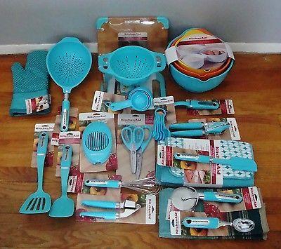 NEW KitchenAid Aqua Blue Turquoise 33 Piece Set Lot Cooking Utensils  Colanders +