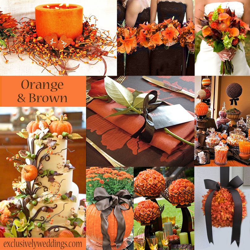 An Orange Color Combination for Your Fall Wedding   Brown ...
