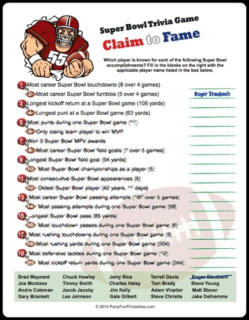Super Bowl Trivia Multiple Choice Printable Game Updated Jan 2020 Super Bowl Trivia Superbowl Party Super Bowl